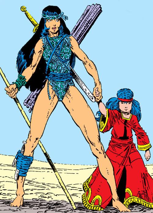 Karma of the New Mutants (Marvel Comics) (Classic era) in the Asgardian desert