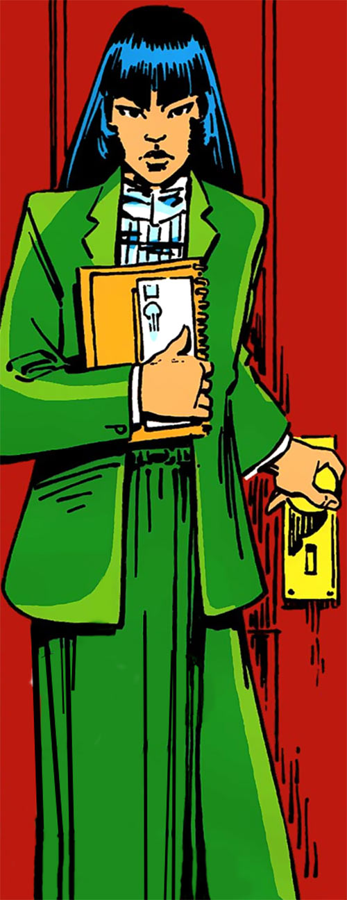 Karma of the New Mutants (Marvel Comics) (Classic era) in a green business suit