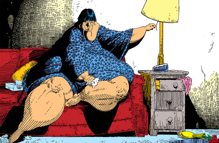 Karma of the New Mutants (Marvel Comics) morbidly obese and crying