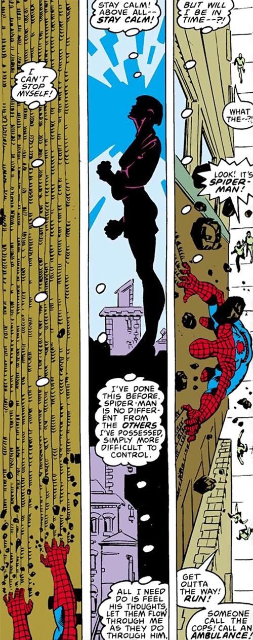Karma of the New Mutants (Marvel Comics) (Classic era) possessing Spider-Man