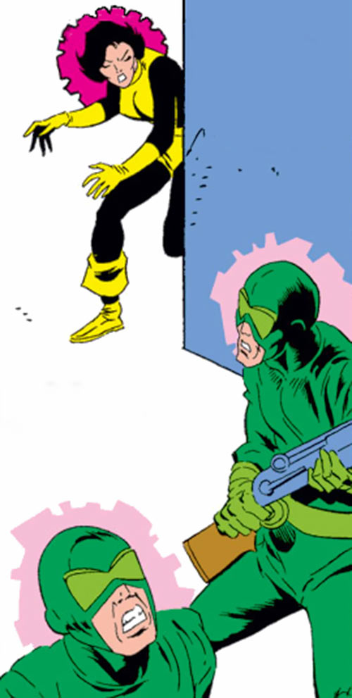 Karma of the New Mutants (Marvel Comics) (Classic era) possessing 2 Hydra agents