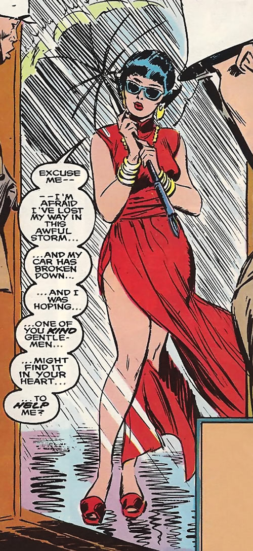 Karma of the New Mutants (Marvel Comics) (Classic era) disguised as a bimbo starlet