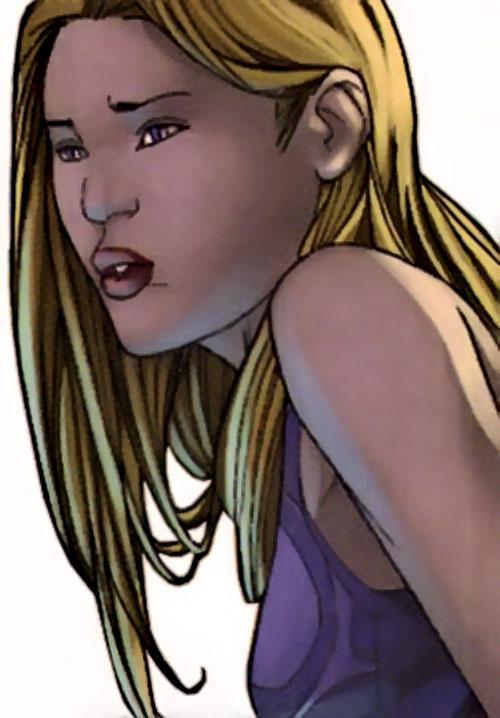 Karolina Dean of the Runaways (Marvel Comics) face closeup