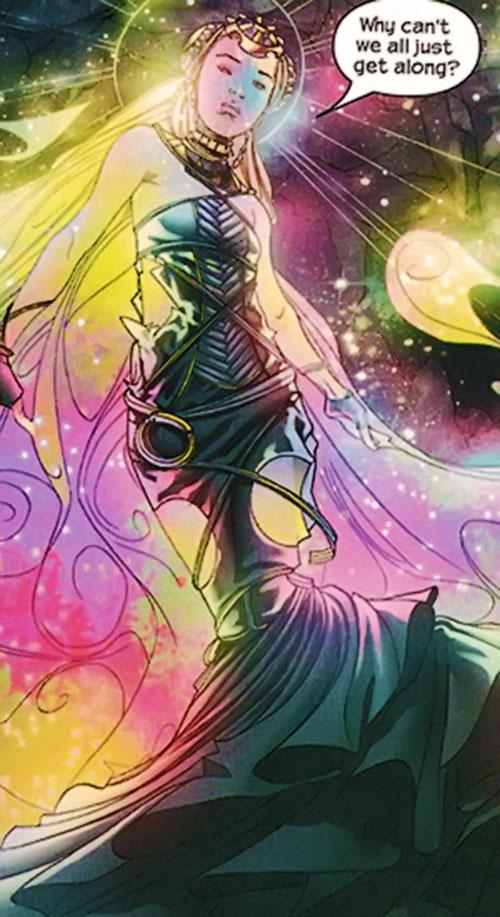 Karolina Dean of the Runaways (Marvel Comics) in an alien dress