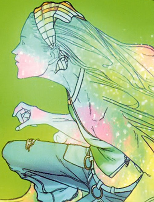 Karolina Dean of the Runaways (Marvel Comics) emitting pastel light from her skin