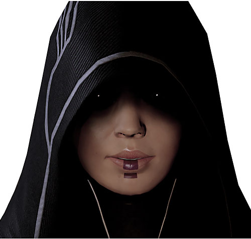 Kasumi Goto (Mass Effect) ominous face closeup mysterious