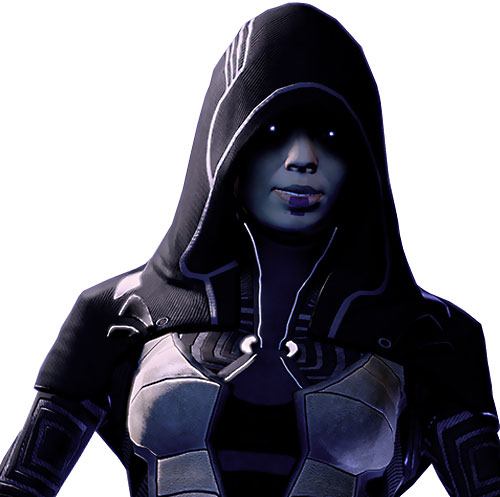 Kasumi Goto (Mass Effect) eyes glowing under her hood