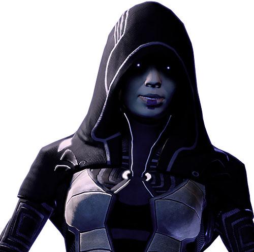Kasumi Goto (Mass Effect) eyes glowing under her hood