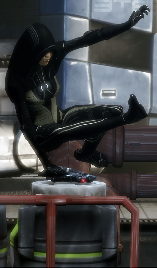 Kasumi Goto (Mass Effect) leaps above an obstacle