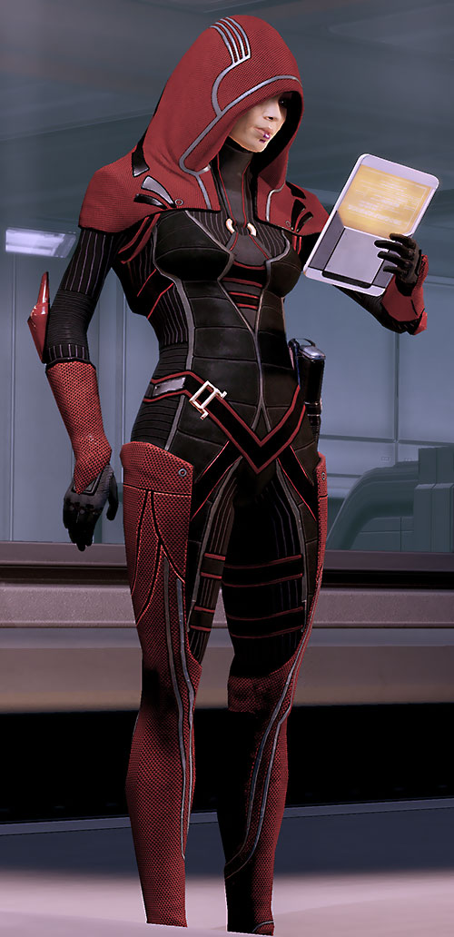 Kasumi Goto (Mass Effect) in red, examining a data pad
