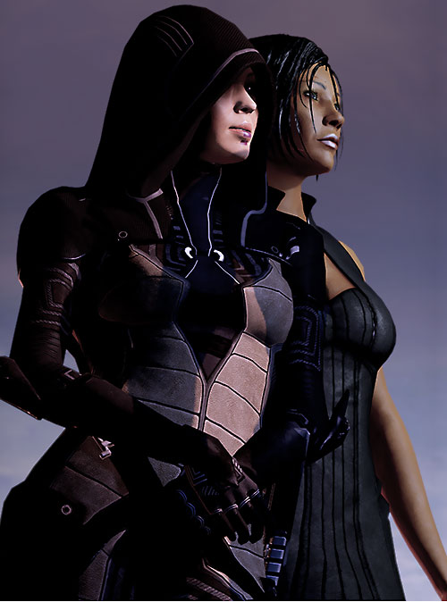 Kasumi Goto (Mass Effect) leaning against Commander Mandala Shepard