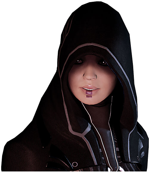 Kasumi Goto (Mass Effect) faint smile reflective eyes