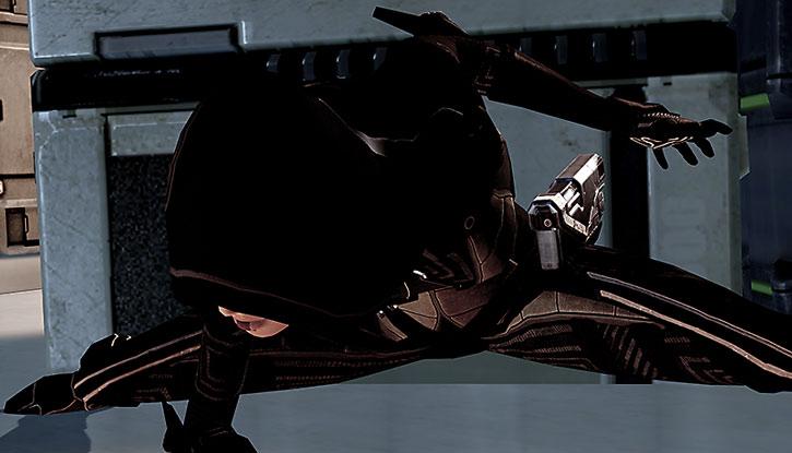 Kasumi Goto landing after a jump