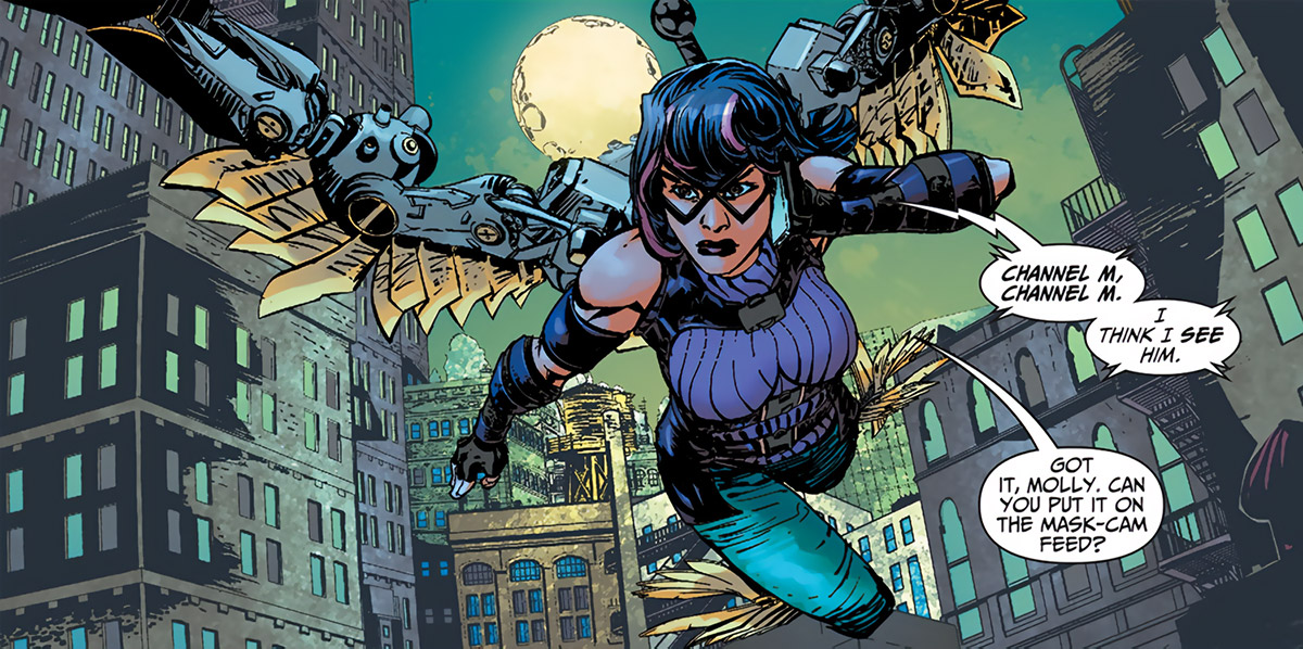Katharsis (DC Comics) (The Movement) flies over the city
