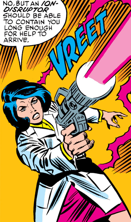Kate Waynesboro of SHIELD (Hulk character) (Marvel Comics) firing a disruptor pistol