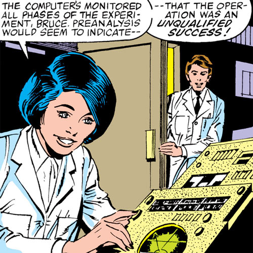 Kate Waynesboro of SHIELD (Hulk character) (Marvel Comics) with electronic consoles