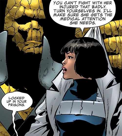 Kate Waynesboro of SHIELD (Hulk character) (Marvel Comics) and Korg