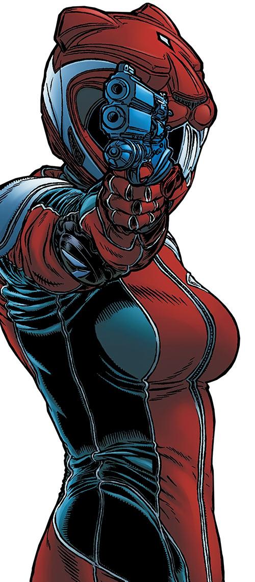 Kathryn Artemis (Black Summer) (Avatar Comics) pointing her pistol