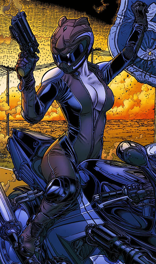Kathryn Artemis (Black Summer) (Avatar Comics) on her bike in a desert