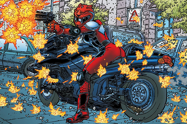 Kathryn Artemis under heavy fire on her bike