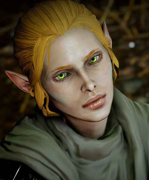 Katriel the elf bard (Dragon Age The Stolen Throne) ultra-green eyes