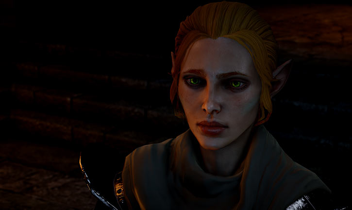 Katriel the elf bard (Dragon Age The Stolen Throne) in a dark room