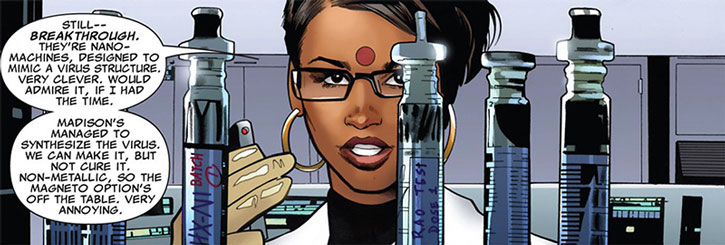 Kavita Rao and test tubes, in a lab