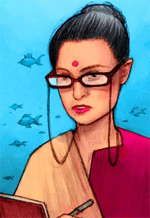 Dr. Kavita Rao of the X-Club (X-Men ally) (Marvel Comics) and an aquarium