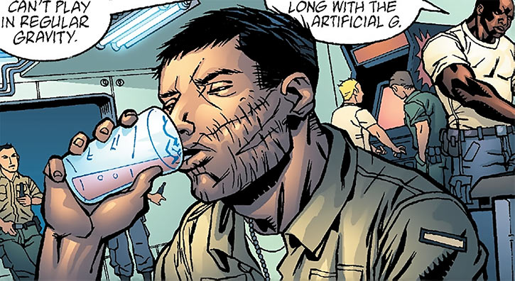 Sergeant Kelly having a drink (DC Comics) (Human Defense Corps)