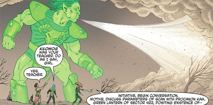 Green Lantern Kho using her ring