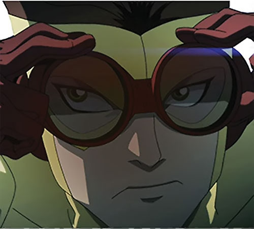 Kid Flash of Young Justice (Cartoon series) adjusting his goggles at night