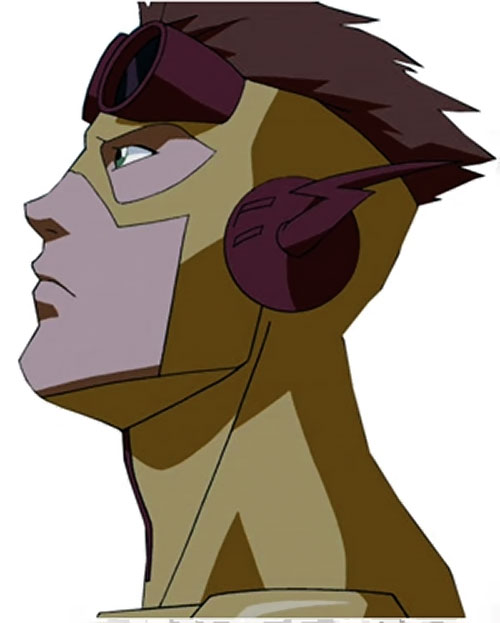 Kid Flash of Young Justice (Cartoon series) head closeup side view