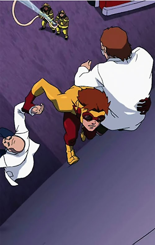 Kid Flash of Young Justice (Cartoon series) evacuating 2 scientists up a wall