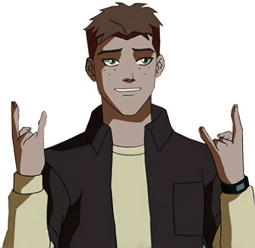 Kid Flash of Young Justice (Cartoon series) throwing the horns