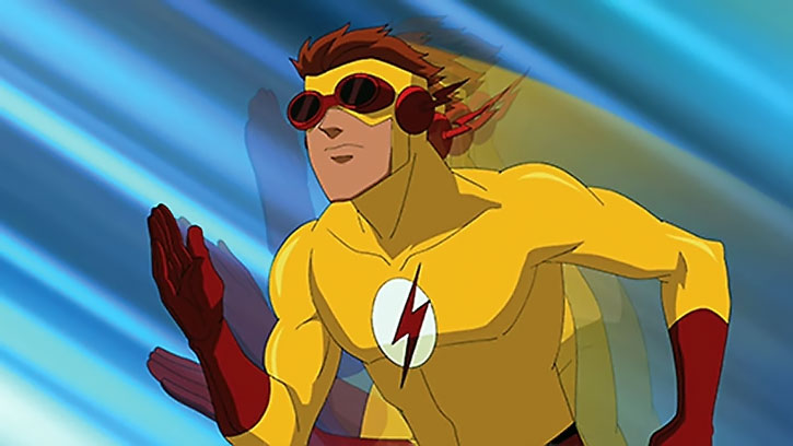 Kid Flash (animated version) running with blue speed lines