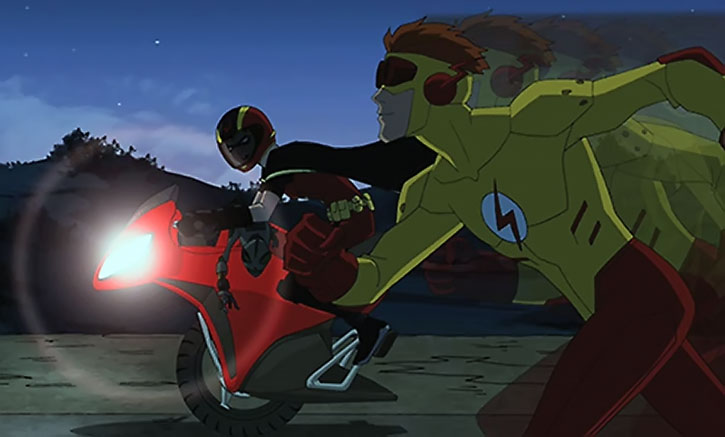 Kid Flash running, and Robin on an unicycle