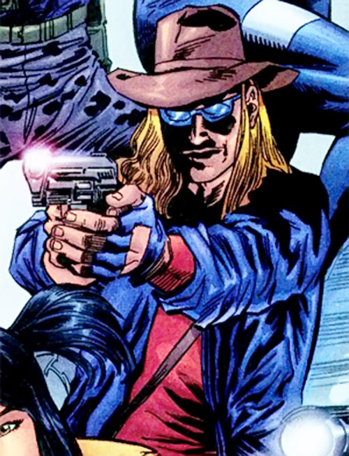 The Kid, agent of SHIELD (Marvel Comics) aiming his pistol