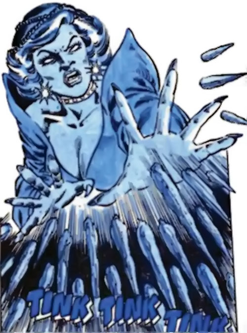 Killer Frost (Firestorm enemy) (DC Comics) (Crystal Frost) attacking with ice spikes