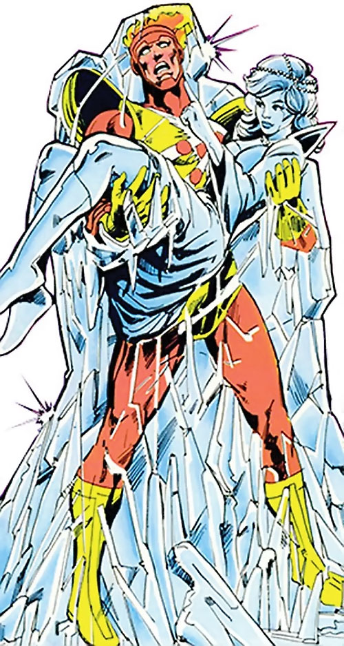 Killer Frost (Firestorm enemy) (DC Comics) (Crystal Frost) held by a frozen Firestorm