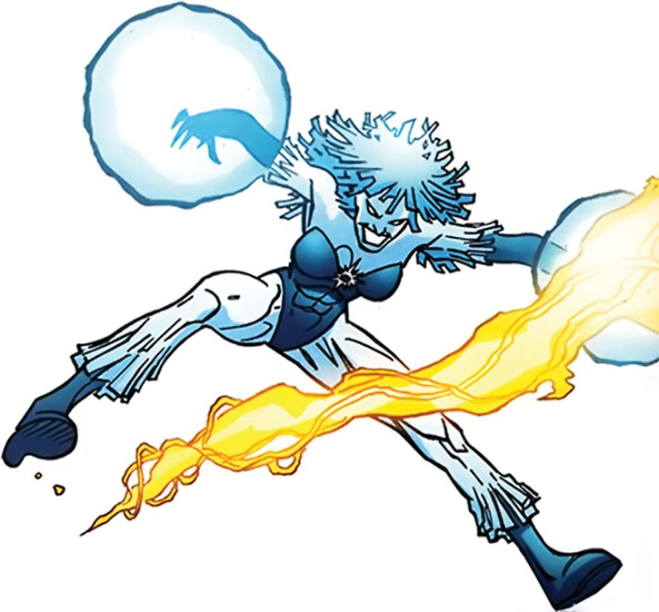 Killer Frost (Louise Lincoln) dodges a fire blast