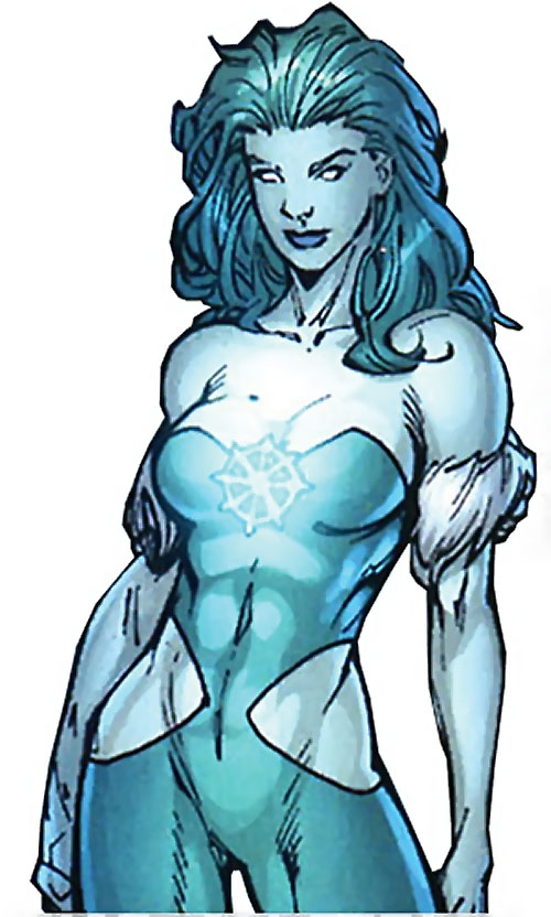 Killer Frost (DC Comics) (Lincoln mutated by Neron) with a glowing chest symbol and pants