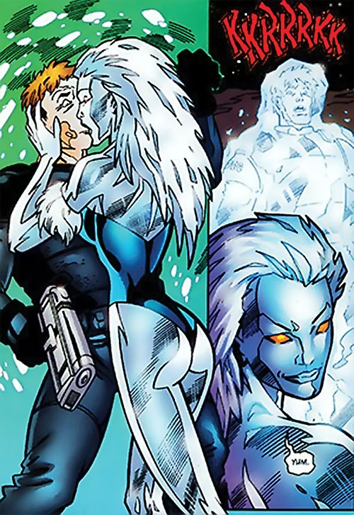 Killer Frost (DC Comics) (Lincoln mutated by Neron) killing a guard by kissing him