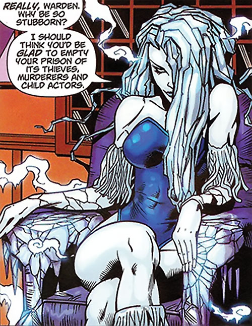 Killer Frost (DC Comics) (Lincoln mutated by Neron) freezing her seat