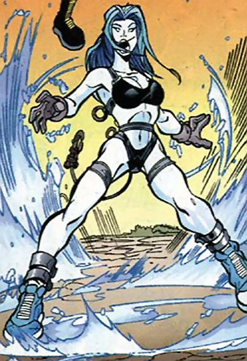 Killer Frost (DC Comics) (Lincoln mutated by Neron) in a bikini and climbing gear