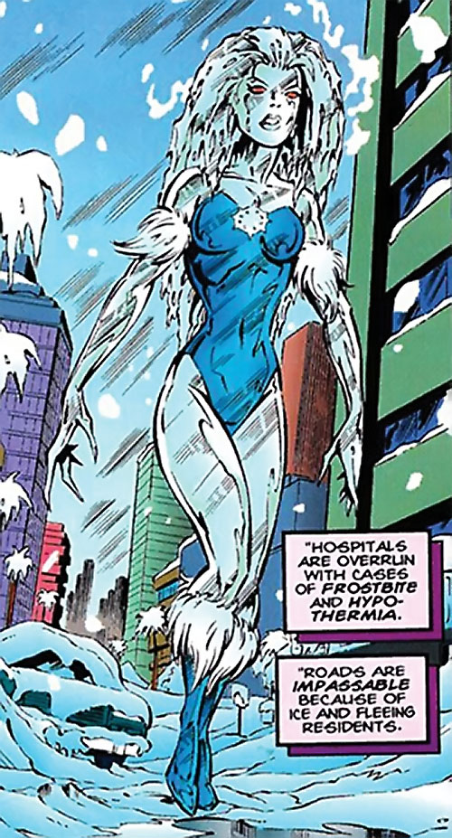 Killer Frost (DC Comics) (Lincoln mutated by Neron) walking and freezing downtown