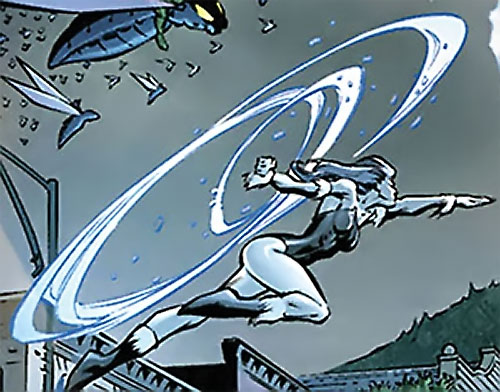 Killer Frost (DC Comics) (Lincoln mutated by Neron) leaping into battle