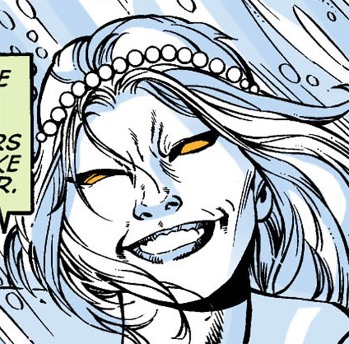 Killer Frost (DC Comics) (Lincoln mutated by Neron) cruel face closeup