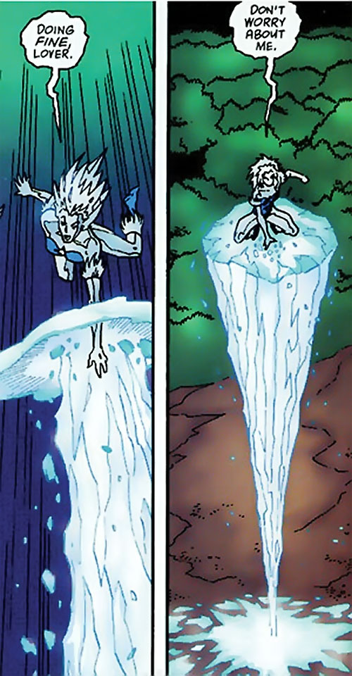 Killer Frost (DC Comics) (Lincoln mutated by Neron) riding an ice column
