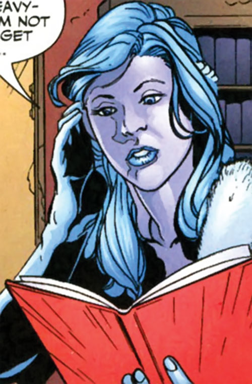 Killer Frost (DC Comics) (Lincoln mutated by Neron) checking a ledger