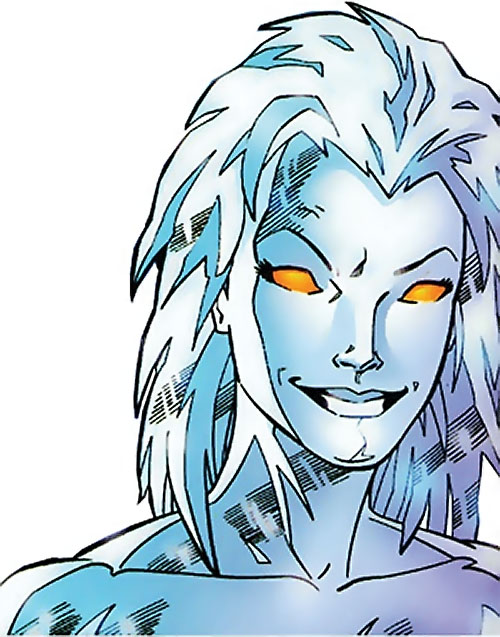 Killer Frost (DC Comics) (Lincoln mutated by Neron) smiling face closeup